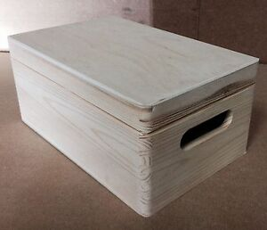 * Pine wood storage box with lid 30x20x14cm DD168 trunk toys beads shoes (X)