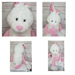 "Jumbo 40"" Bunny Rabbit White And Pink Rabbit Stuffed Plush Huge Soft Animal"