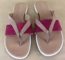 EMU  Australia Wenona Sandals flip flops thong leather Raspberry/Tan Size 9 EUC
