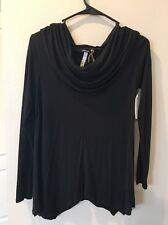 Cowl Neck Kenzie Long Sleeve Blouse Women's Black Viscose XS Extra Small