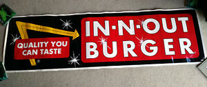 "VINTAGE UNUSED 1970s IN-N-OUT BURGER BUS BANNER 21"" X 71"" ADVERTISEMENT EX"