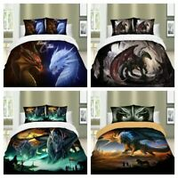 Dragon Duvet Cover Set Twin/Queen/King Size Bedding Set Animal Pillowcase US