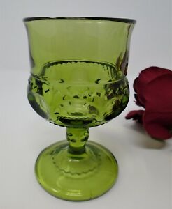 Indiana Glass King's Crown or Thumbprint Avocado Juice Goblet, 4 oz., 4.5 in.