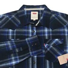 Levi's Flannel Shirt Plaid XXL Blue Gray Lumberjack Western Button Front Levi