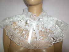 ADULT BABY WHITE LACE SISSY COLLAR FRILLY SATIN BOWS