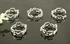 wholesale lots 10Pcs 925 Silver Heart Design toe rings Adjustable