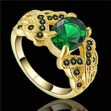 Green Emerald Big Stone CZ Ring Women/Men's 10KT yellow Gold Filled Size 7