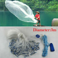 10FT Hand Cast Fishing Net Bait Nylon Trap Line Mesh Easy Throw Strong Dia 3M US