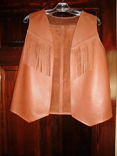 Beautiful handmade leather vest with fringe, ladies size Large in beautiful!