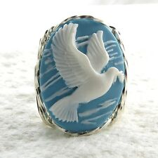 Peace Dove Cameo Ring .925 Sterling Silver Jewelry Aqua Resin Any Size