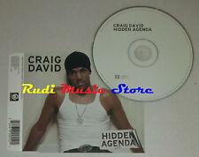 CD Singolo CRAIG DAVID Hidden agenda 2003 germany WILDSTAR TWR0055-2 (S2) mc dvd