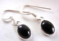 Small Black Onyx Oval Ellipse 925 Sterling Silver Dangle Earrings New