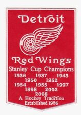 DETROIT RED WINGS STANLEY CUP YEARS BANNER PATCH NHL DETROIT RED WINGS JERSEY