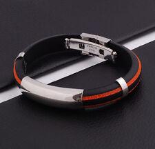 Unisex Men Women's Stainless Steel Rubber Silicone Bracelet Orange 2