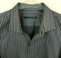 ZACHARY PRELL Shirt Mens XL Striped Button Down Long Sleeve Blue Gray Silver