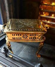 Antique Brass Footman Vintage Victorian Open Fire Side Place Metal Trivet Stand