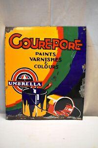 """Vintage Porcelain Enamel Sign Board Gourepore Umbrella Brand Paint Varnish Old""""2"""