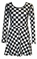 New Black & White Chess Board Long Sleeve Flared Skater Swing Smock Mini Dress
