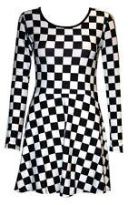 New Black & White Chess Board Long Sleeve Flared Skater Swing Smock Mini Dress