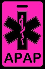 Hi-Viz Pink APAP Carry-On Bag Tag - CPAP BiPAP APNEA POC