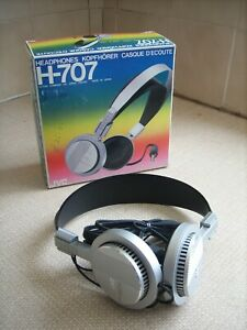 Vintage JVC H-707 headphones with original box in good condition 1983
