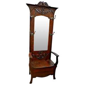 Victorian Hall Tree Throne style Dark English Oak under seat storage mirror