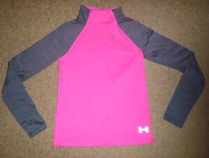 Girls Medium M Under Armour UA Pullover ColdGear Warm Base Layer Shirt Pink