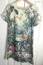 H&M Conscious Collection Tropical Toucan Print Tunic Dress Sz 6 NWOT