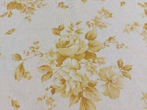 Dorothy French Faded Roses Floral Linen Fabric Yellow 140 cm Curtains