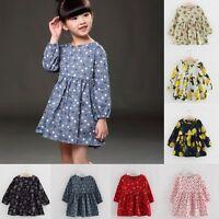 Toddler Kids Baby Girls Lemon Dress Long Sleeve Princess Party Tutu Dresses 1-6Y