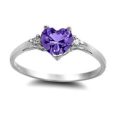 Silver Heart CZ Ring Sterling Silver Rhodium Plated Best Jewelry Amethyst Size8