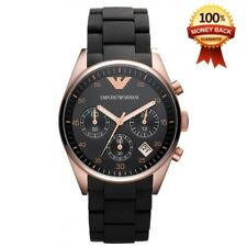 NEW EMPORIO ARMANI ROSE GOLD AR5906 BLACK SILICONE CHRONOGRAPH LADIES WATCH UK