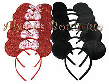 Minnie Mickey Mouse Ears Headbands 12 pcs Black Plush Red Birthday Party Costume