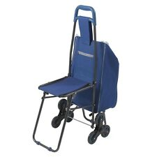 Drive Medical Deluxe Rolling Shopping Cart with Seat, Blue- 607BL NEW