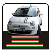 Adesivi per FIAT 500 KIT fasce bandiera italiana cofano tettino e baule strisce
