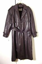 Vtg Dark Brown Leather Golden Collection Raffaelo Trench Spy Coat Sz 40 /L