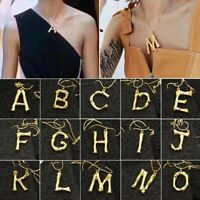 Punk 26 Letter Charm Bamboo Pendant Women Chain Initial Choker Necklace Jewelry