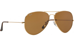 RAY-BAN SUNGLASSES AVIATOR RB3025-001/33 BROWN LENS - GOLD FRAME - FAST POST