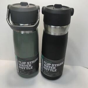 "Stanley ""The Iceflow"" Flip Straw Water Bottle 22oz Green & Matte Black"