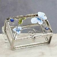 Blue Butterfly with Orchid Jewelry Box Container Brand New