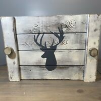 """Wooden Rustic Deer Buck Farmhouse Serving Tray Great Condition 18.5"""" X 14"""""""