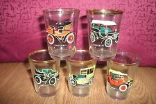 5 x VINTAGE CAR Shot Glasses  . FREE UK P+P ....................................