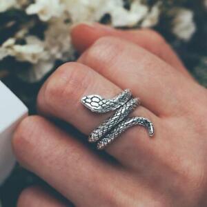 Snake Animal Punk Vintage Opening Adjustable Ring 925 Sterling Silver Filled Men