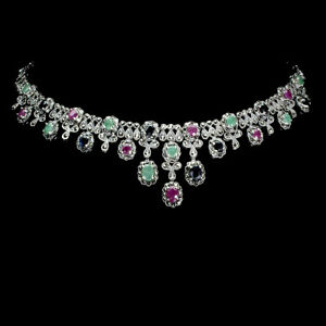 Oval Red Ruby 7x5mm Emerald Sapphire Gems 925 Sterling Silver Necklace 17.5 Ins