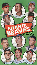 """1969 TOPPS ATLANTA BRAVES TEAM 8 1/2"""" X 11"""" COLOR PRINT POSTER WITH HANK AARON"""