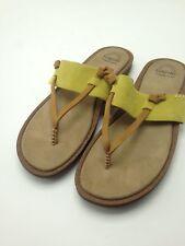 G.H. Bass & Co. Sunjuns Flip Flop Cushion Leather Sandals Tan Chartreuse Size 9