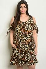 Womens Plus Size Animal Print Cold Shoulder Tunic Dress 2XL