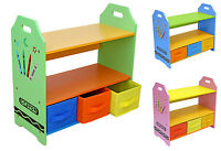 Bebe Style Childrens Crayon Wooden Shelves, Storage Unit,3 Bin-Kids Toddlers-NEW