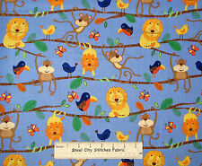 Animal Monkey Lion Tree Fabric Michael Miller Hanging Around  Blue Cotton Yard