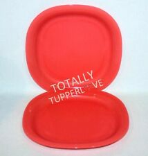 "Tupperware Plates Set of 2 Square 9.5"" Luncheon Microwave Safe Lunch Guava Red"